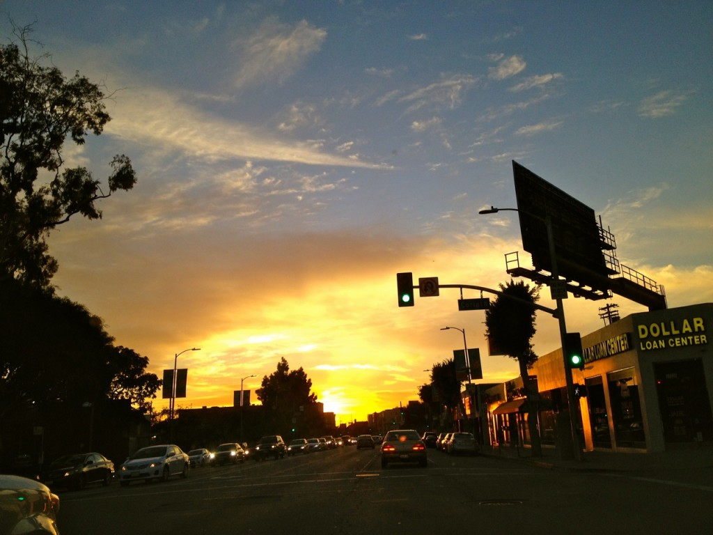 Sunset on Santa Monica Blvd., in West LA.